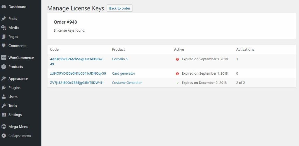 manage license keys