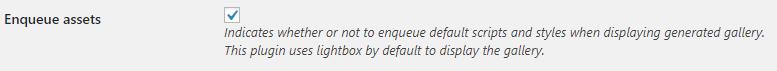 Post Gallery enqueue assets option