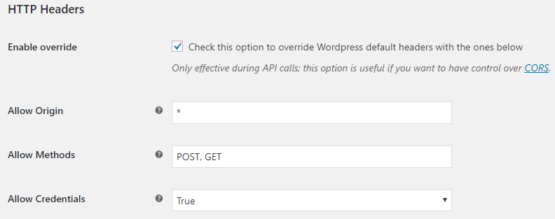 WooCommerce cors settings