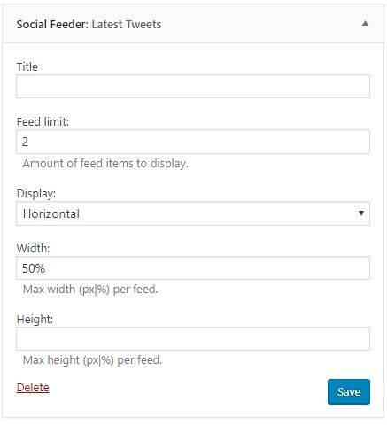 Social Feeder widget config sample