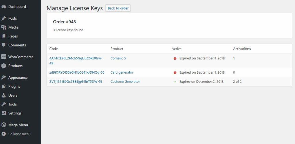 manage license keys